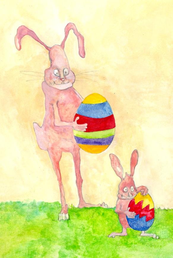 Jen Ferguson Watercolor; Easter bunny & Kid