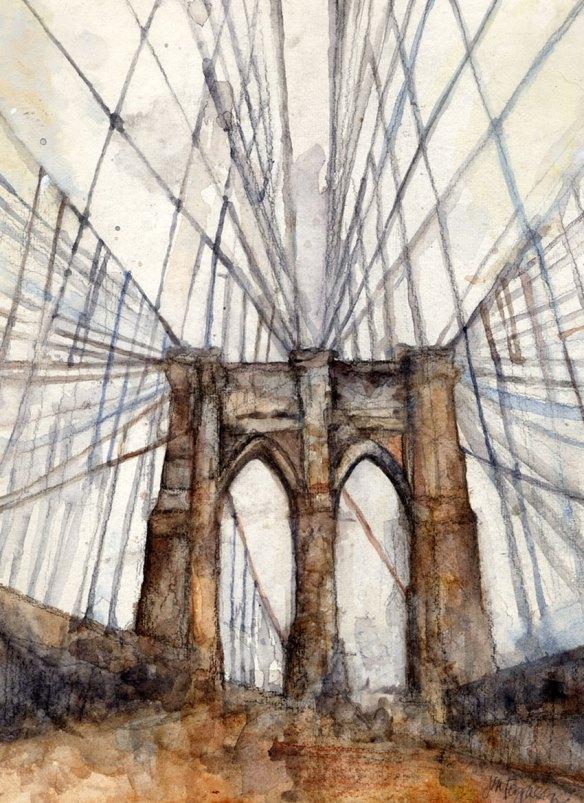 "Brooklyn Bridge Footpath, watercolor on paper, 9 x 12"""