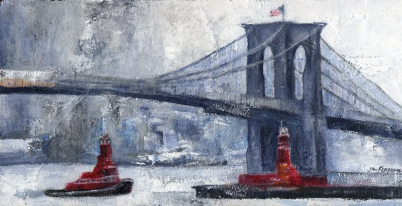 Brooklyn Bridge in Winter with Boats Passing Underneath, Oil on wood, 8 x 12""