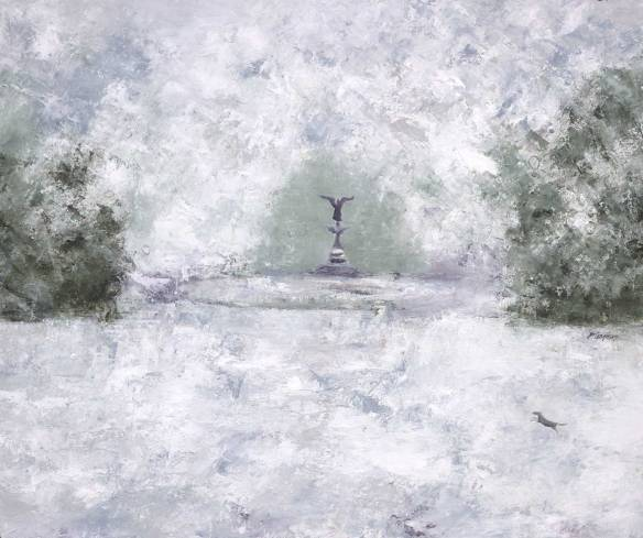 "Bethesda Fountain (oil on canvas, 20 x 24"";  2015)"