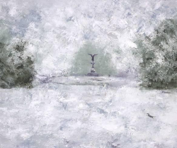"""Bethesda Fountain (oil on canvas, 20 x 24"""";  2015)"""